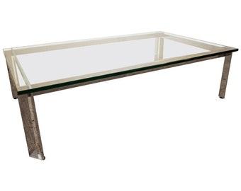 Mid-Century Coffee Table Danish Modern Italian Flat Bar Chrome Glass Top Coffee Table