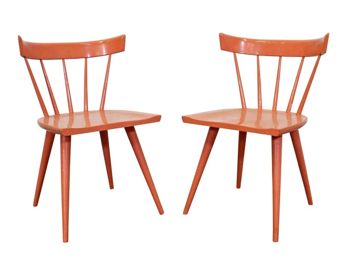 Paul McCobb Chairs Pair Mid-century Modern Orange Spindle Back Chairs by Paul McCobb Planner Group
