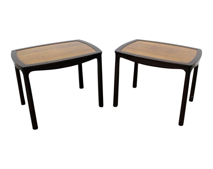 Mid-Century Modern Asian Edward Wormley Dunbar Rosewood End Tables PAIR