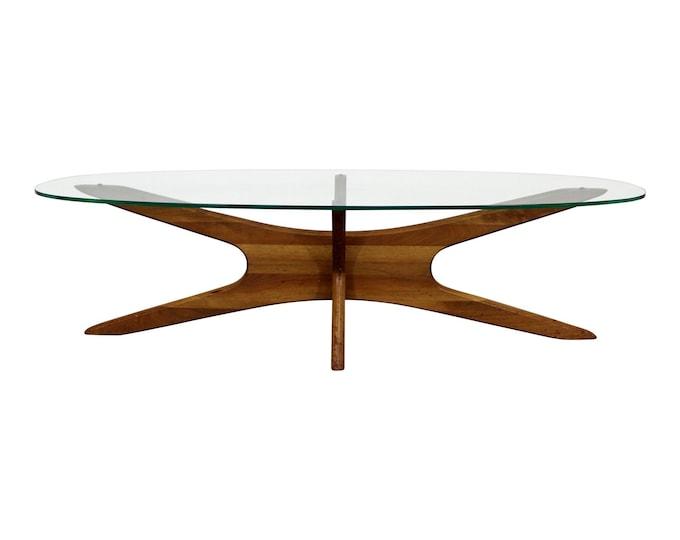 Mid-Century Danish Modern Adrian Pearsall 'Jacks' Glass Top Coffee Table