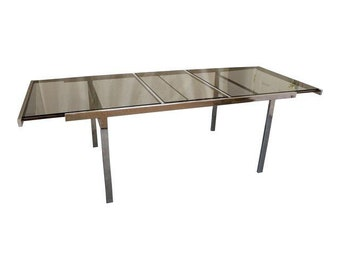 Milo Baughman Mid-Century Dining Table Danish Modern Chrome Extension Dining Table