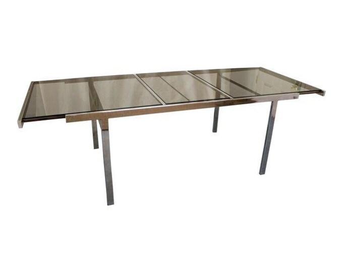 Milo Baughman Mid-Century Dining Table Danish Modern Chrome Extension Dining Table