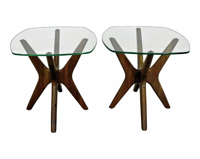 Adrian Pearsall 'Jacks' Glass Top End Tables Mid-Century Danish Modern