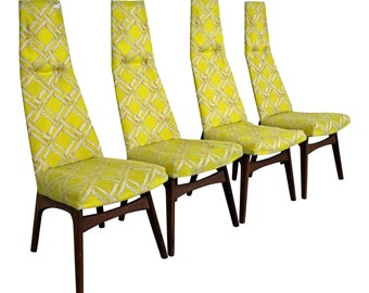 Set of 4 Mid-Century Dining Chairs Danish Modern by Adrian Pearsall, High Back