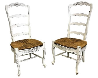 French Country Ladderback Dining Chairs White Carved 4-Rung Rush Seat