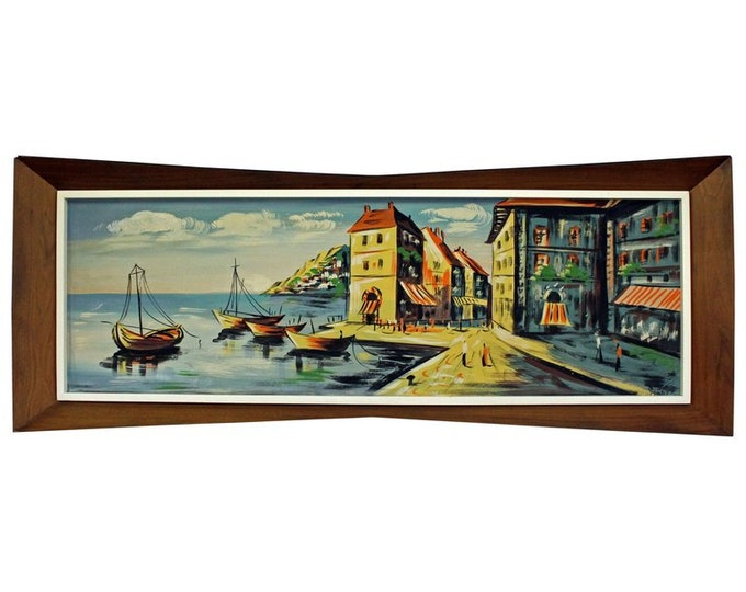 """Mid-Century 1960's Art Water Color on Board """"Anchor Bay"""" by Gunes With 3D Bow Tie Walnut Frame"""