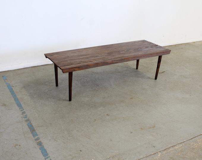 Mid-Century Modern Walnut Slat Bench End/Coffee Table