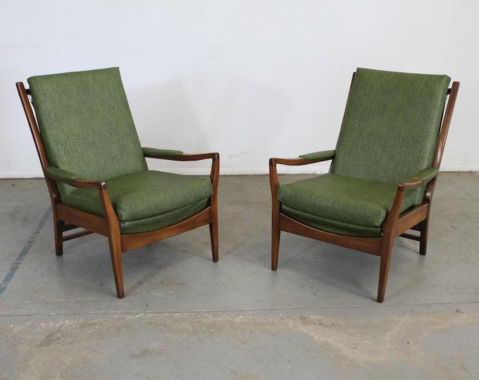 Pair of Mid Century Modern Walnut Open Arm  Lounge Chairs