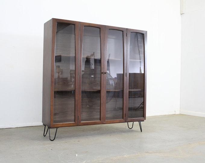 Mid Century Danish Modern Walnut Bookcase on Hairpin Legs