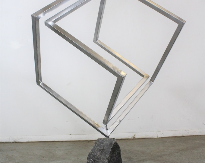 Large Table Top Mid-Century Modern Style 3D Cubic Sculpture