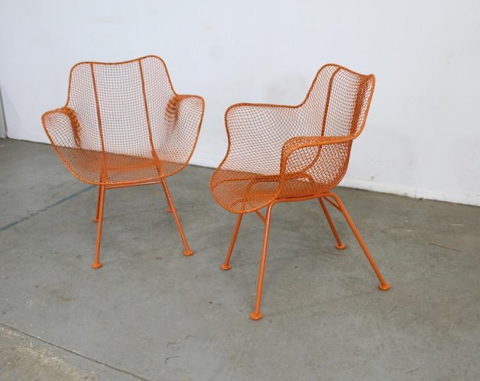 Pair of Mid Century Danish Modern Woodard Atomic Orange Sculptura Arm Chairs