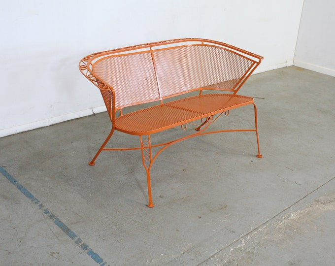 Mid-Century Modern Atomic Orange Salterini Style Outdoor Metal Curved Back Bench