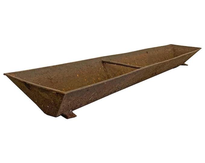 "Rustic Primitive Architectural Long Antique Cast Iron Feeding Trough 73"""