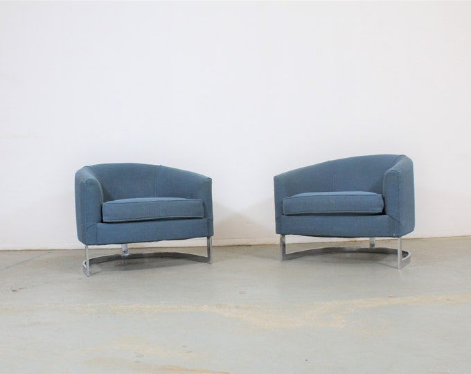 Pair of Mid Century Modern Barrel  Back Club Chairs by Finn Anderson for Selig