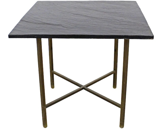 Mid-Century Modern Paul McCobb Style Slate Top Brass X-Base End/Side Table