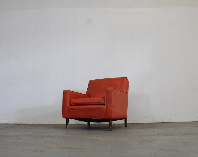 Mid-Century Modern Atomic Orange Club Chair on Pencil Legs