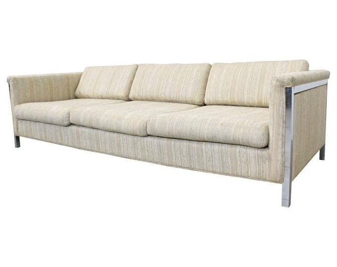Mid-Century Modern Milo Baughman Style Chrome Frame 3-Seater Sofa Vintage Modern