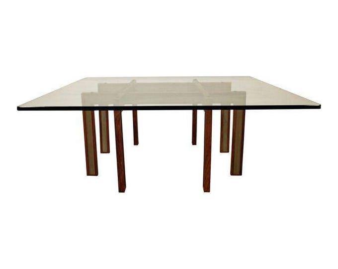 Mid-Century Danish Modern Paul Evans Cityscape Style Glass Top Coffee Table