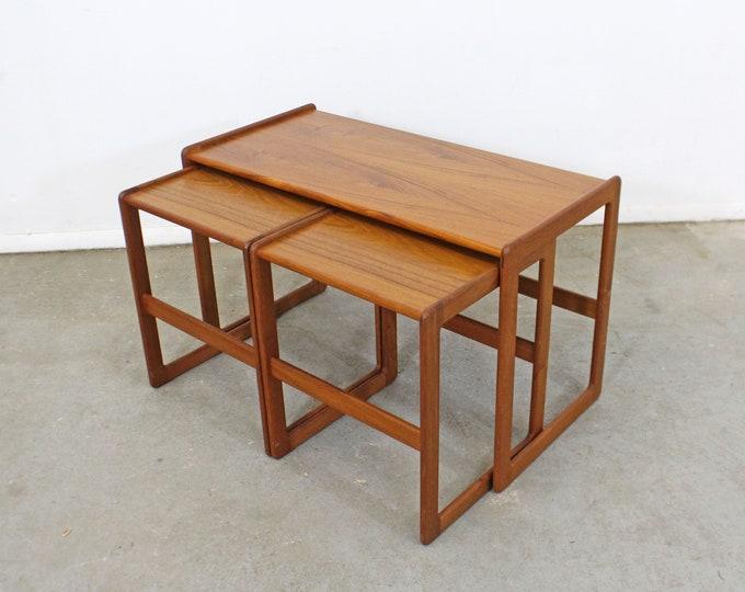 Set of 3 Danish Modern Arne Hovmand-Olsen for Mogens Kold Teak Nesting Tables