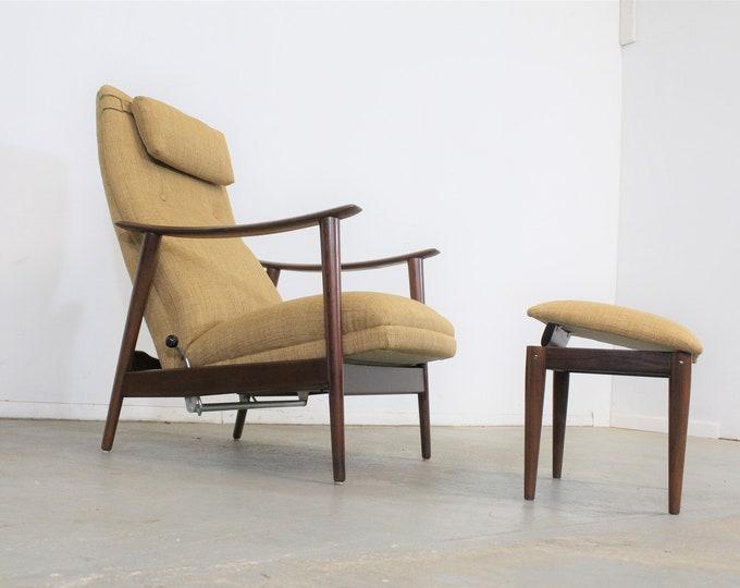 Danish Modern Arnt Lande Teak Adjustable Lounge Chair & Ottoman