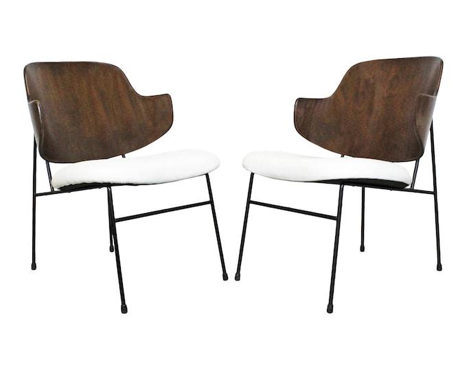 IB Kofod Larsen for Selig Penguin Chairs Pair Mid-Century Danish Modern