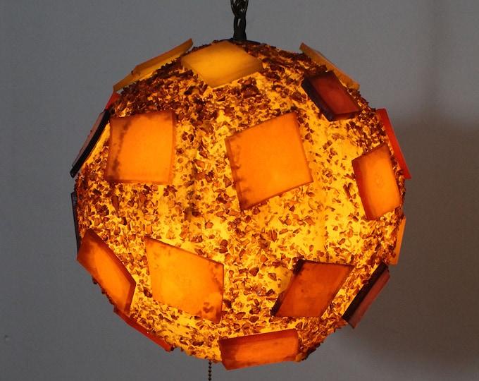 Mid-Century Modern Round Hanging Chain Resin Pendant Lighting/Lamp Chandelier