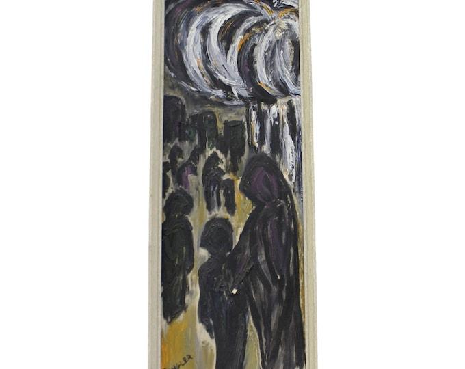 Vintage Modern Abstract Art by C. Dengler Dark Figures Oil Painting on Canvas