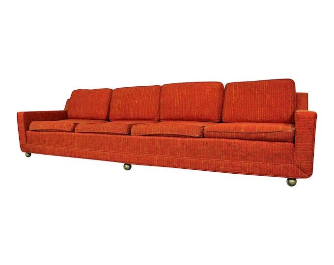 "Mid-Century Danish Modern Kroehler Elongated  4-Seat Sofa on Wheels 109"""