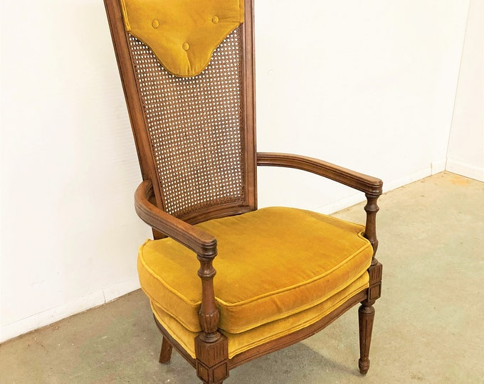 Mid-Century Modern Walnut High Back Cane Arm Chair