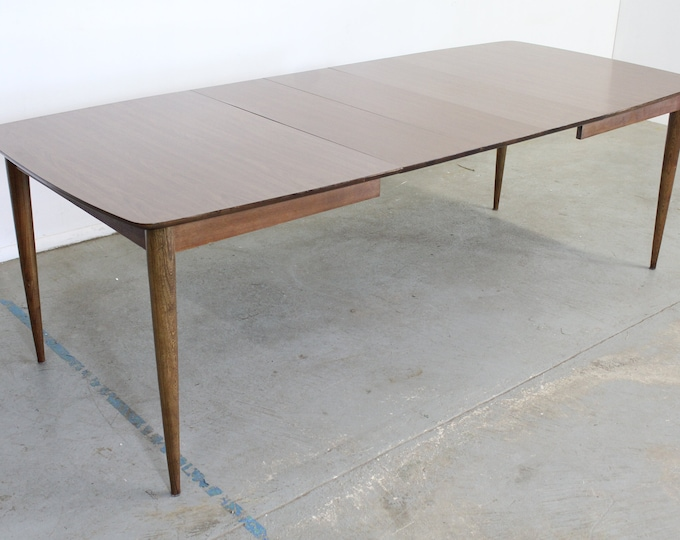 """Mid-Century Modern  Stanley Walnut Surfboard 96"""" Dining Table W 3 Extensions"""