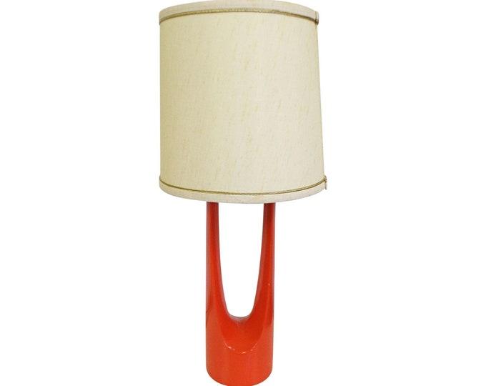 Mid-Century Modern Atomic Orange Metal Round Table Lamp