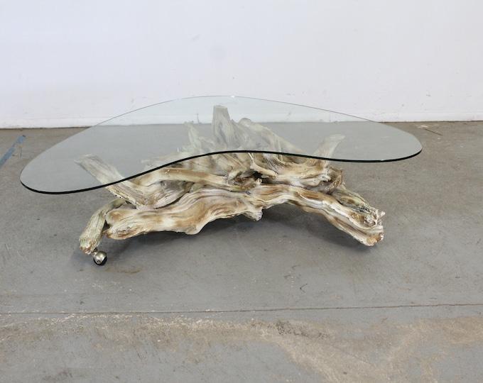 Vintage Mid Century Modern Amorphous/Biomorphic  Glass Driftwood Coffee Table