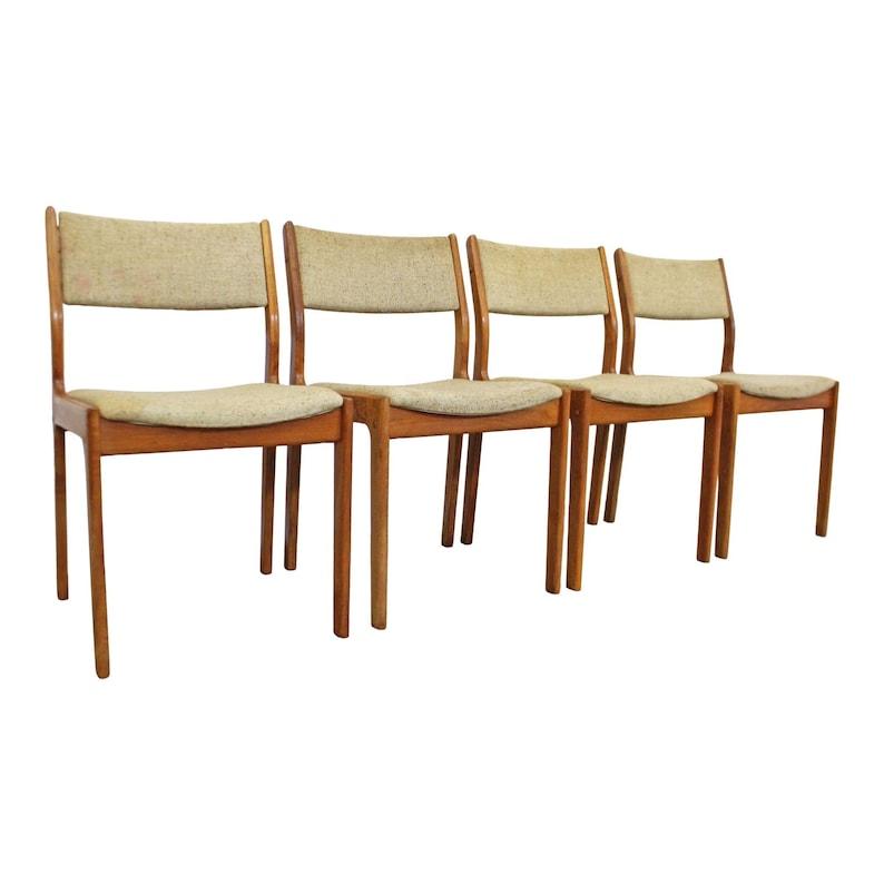 Danish Modern Teak Dining Chairs Set Of 4 Mid Century Modern Etsy