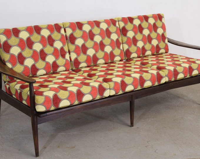 Mid-Century Modern Groovy Geometric 3 Cushion Open Arm Walnut sofa