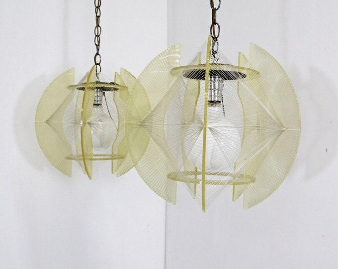 Pair of Mid-Century Danish Modern Lucite & Nylon String Hanging Chain Pendant Lamps Light Fixtures