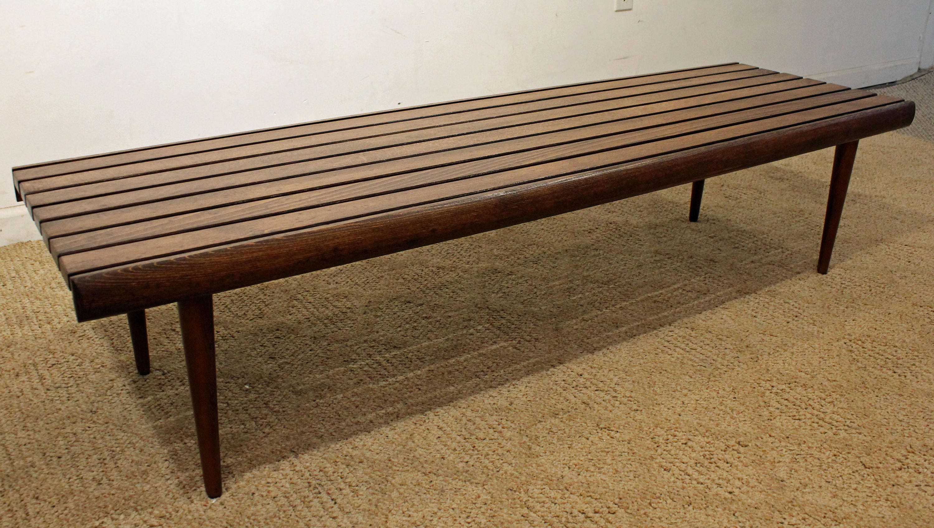 Mid Century Modern Coffee Table Slat Bench Walnut Danish