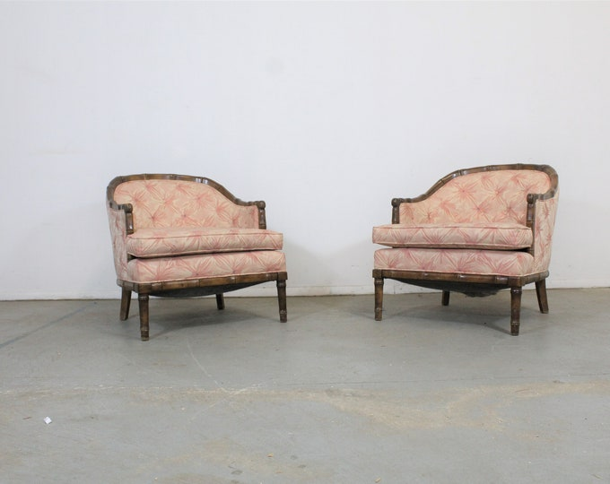 Pair of Mid-Century Modern Faux Bamboo Club Chairs