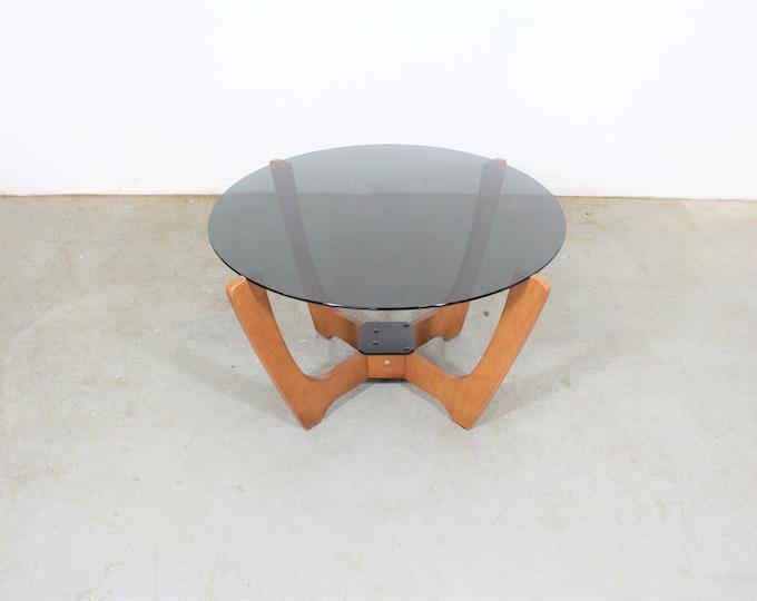 Mid Century Danish Modern Odd Knutsen Glass Top Coffee Table