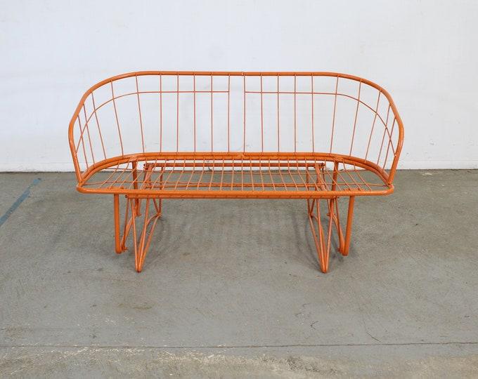 Mid-Century Modern Atomic Orange Homecrest Outdoor Metal Curved Back Glider Bench