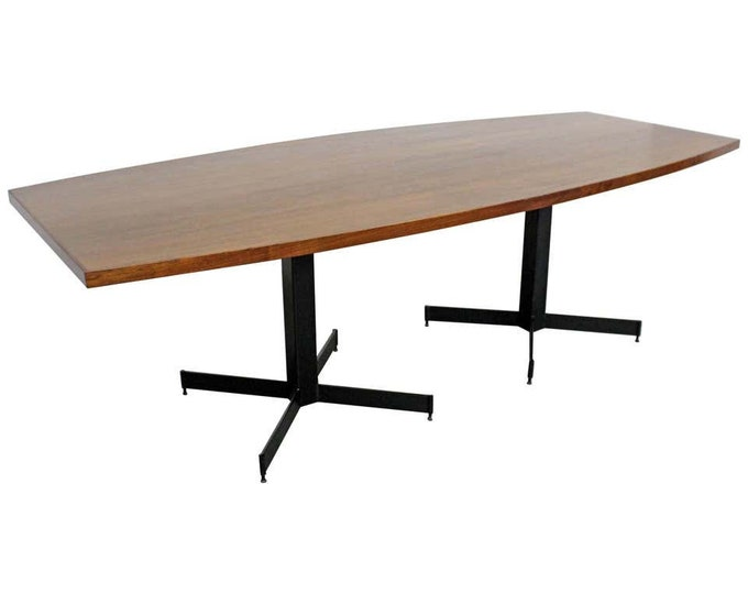 Mid-Century Modern Large Walnut Surfboard Conference/Dining Table