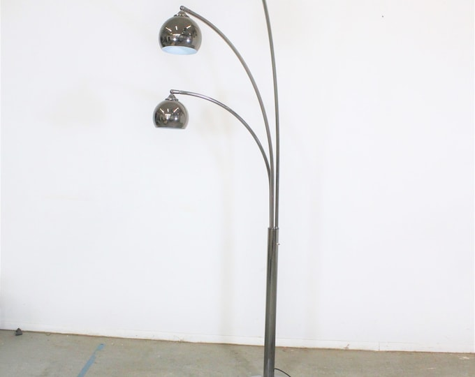 Mid-Century Modern Italian Chrome & Marble Guzzini Style 3-Way Arc Floor Lamp