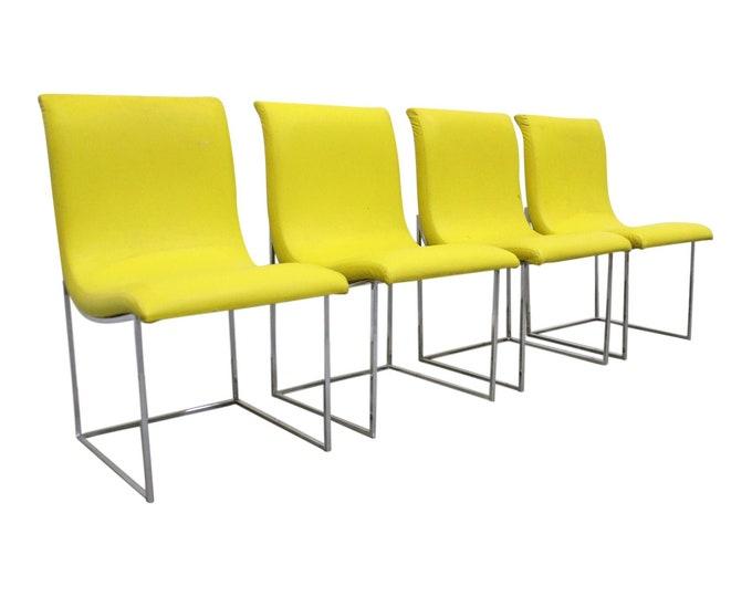 Milo Baughman Thayer Coggin Mid-Century Modern Chrome Dining Chairs-Set of 4