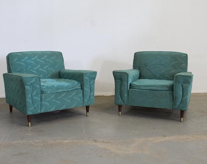 Pair of Mid Century Modern Atomic Teal Kroehler Pencil Leg Club Chairs