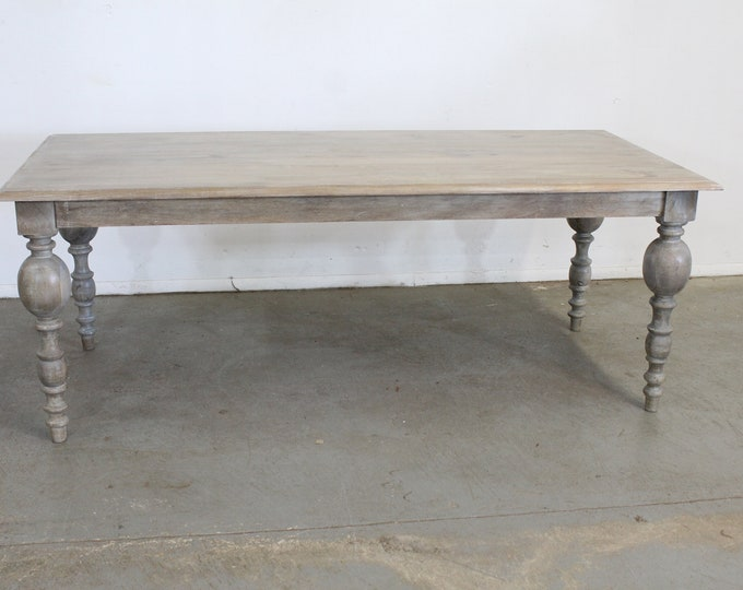 """French Country Dining Table Rustic Natural Gray Farm 80"""" Long"""