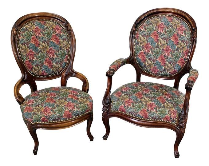 Pair of Vintage Victorian Parlor Set Ladies & Gentleman Chairs
