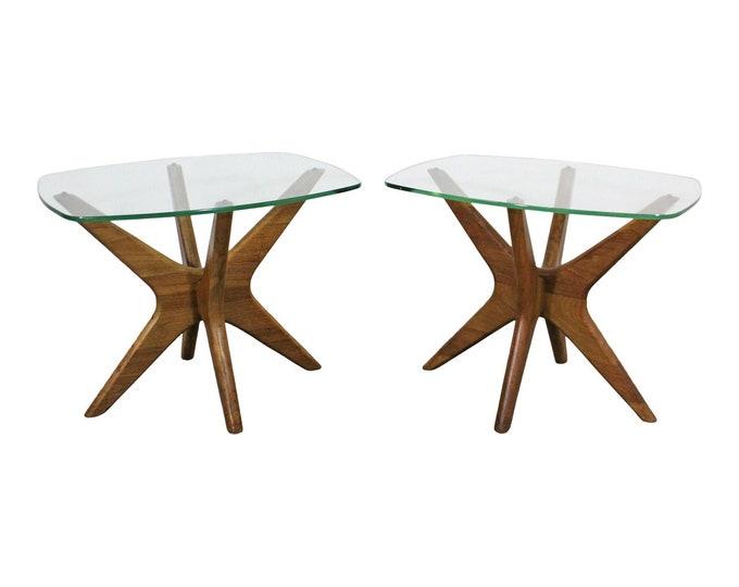 Mid-Century Danish Modern Adrian Pearsall 'Jacks' Glass Top End Tables