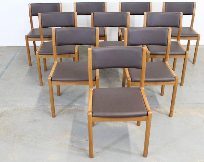 Set of 10 Danish Modern  JL Moller Teak Side Dining Chairs
