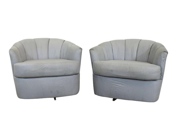 Pair of Mid-Century Danish Modern Milo Baughman for Selig Swivel Club Chairs