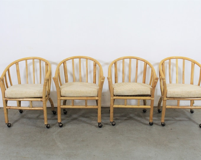 Set of 4 Mid-Century Rattan Dining Chairs with Rollers