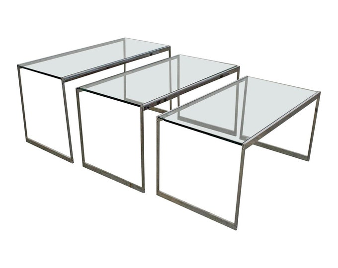 Set of 3 Mid-Century Modern Chrome & Glass Top Nesting Tables/SideTables